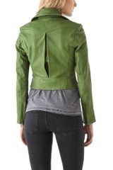Kelly Wearstler Newton Leather Moto Jacket in Green - Lyst