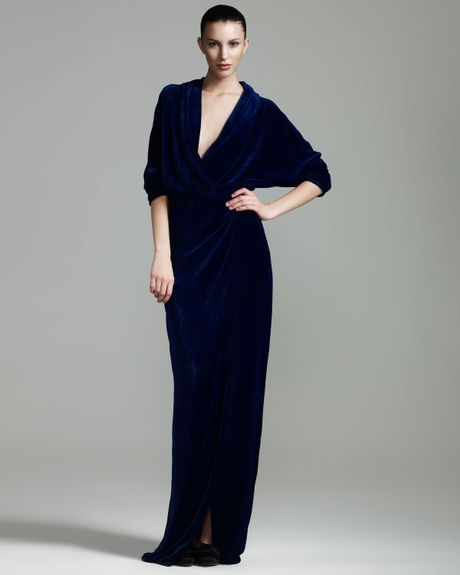 Lanvin Velvet Wrap Gown in Blue (purple) - Lyst