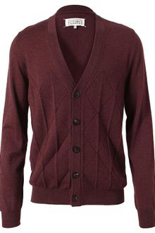 Maison Martin Margiela Pleated Argyle Wool Cardigan - Lyst