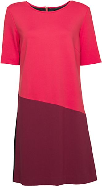 Mango Mango Contrast Straight Cut Dress Red - Lyst