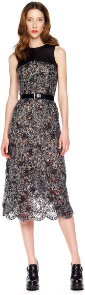Michael Kors Fuzzy Lace Dress in Black - Lyst