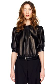 Michael Kors Gathered Leather Top - Lyst