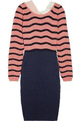 Michael Van Der Ham Contrast-trimmed Striped Sweater Dress - Lyst