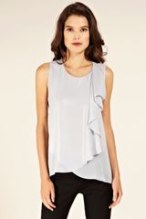 Oasis Dip Hem Metallic Shell in Silver - Lyst