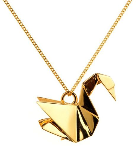 origami jewellery necklace swan in gold lyst