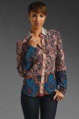 Plenty By Tracy Reese Patchworked Print Shirt - Lyst