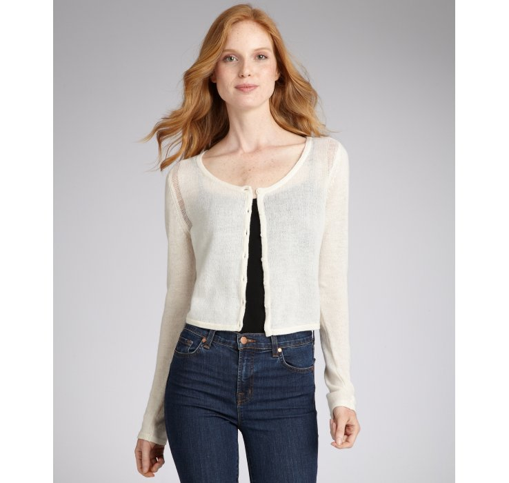 Qi Cream Cashmere Lily Cropped Cardigan in White | Lyst