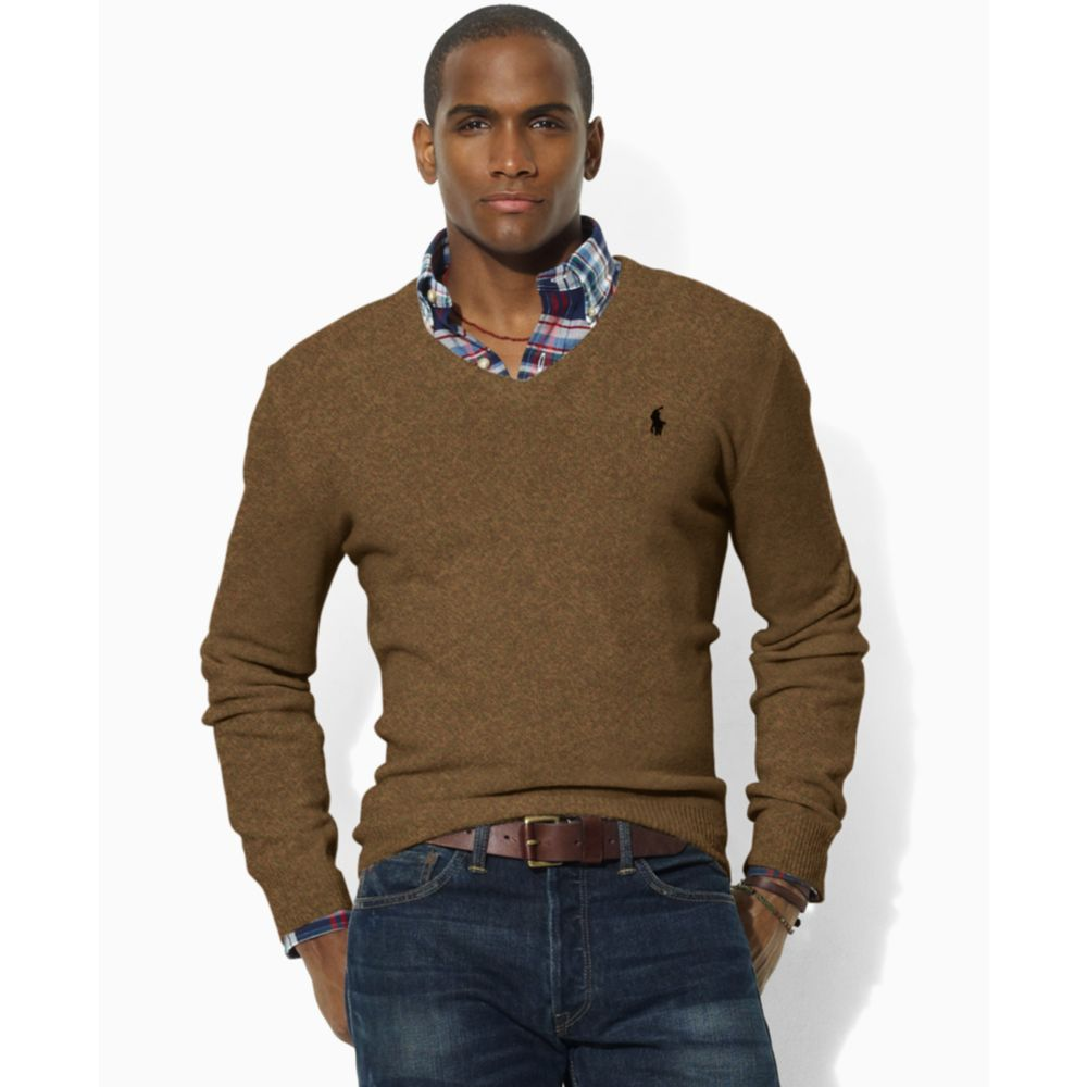 Ralph lauren Lambswool V Neck Sweater in Brown for Men | Lyst