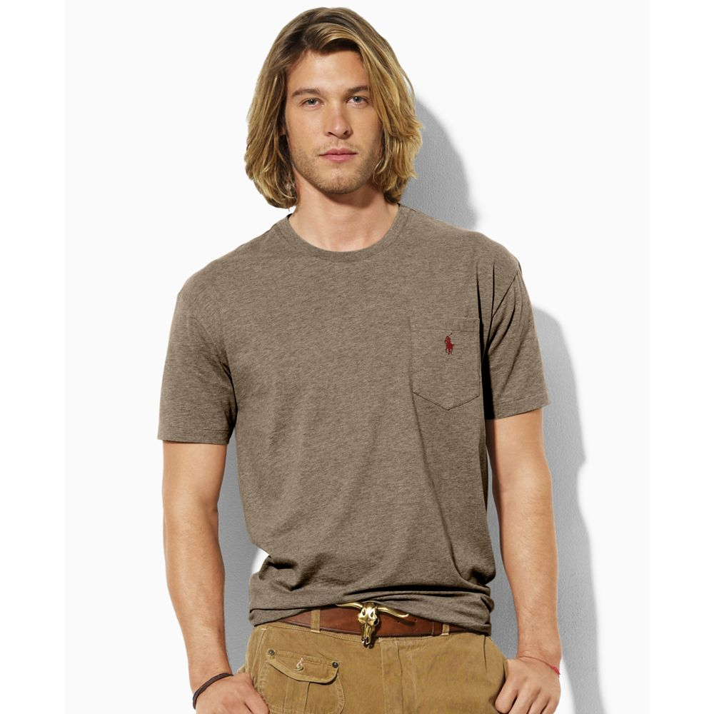Ralph lauren classic fit polo t shirt in brown for men for Light brown polo shirt