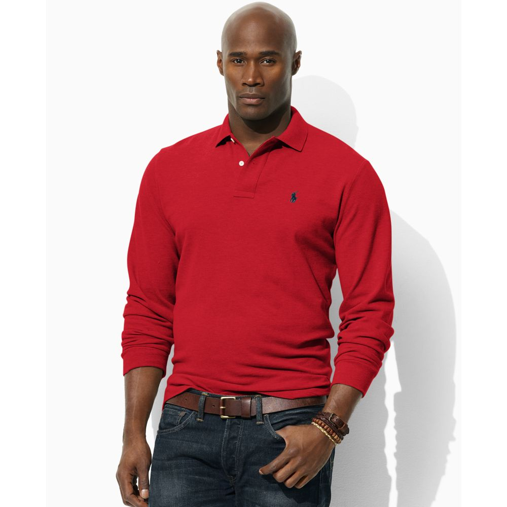 Ralph lauren big and tall long sleeve solid knit polo in for Big and tall men s long sleeve polo shirts