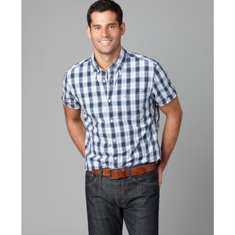 9c1f1fdc Tommy Hilfiger Short Sleeve Price Plaid Shirt in Blue for Men - Lyst
