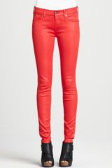 7 For All Mankind Skinny Highshine Gummy Jeans Lipstick - Lyst