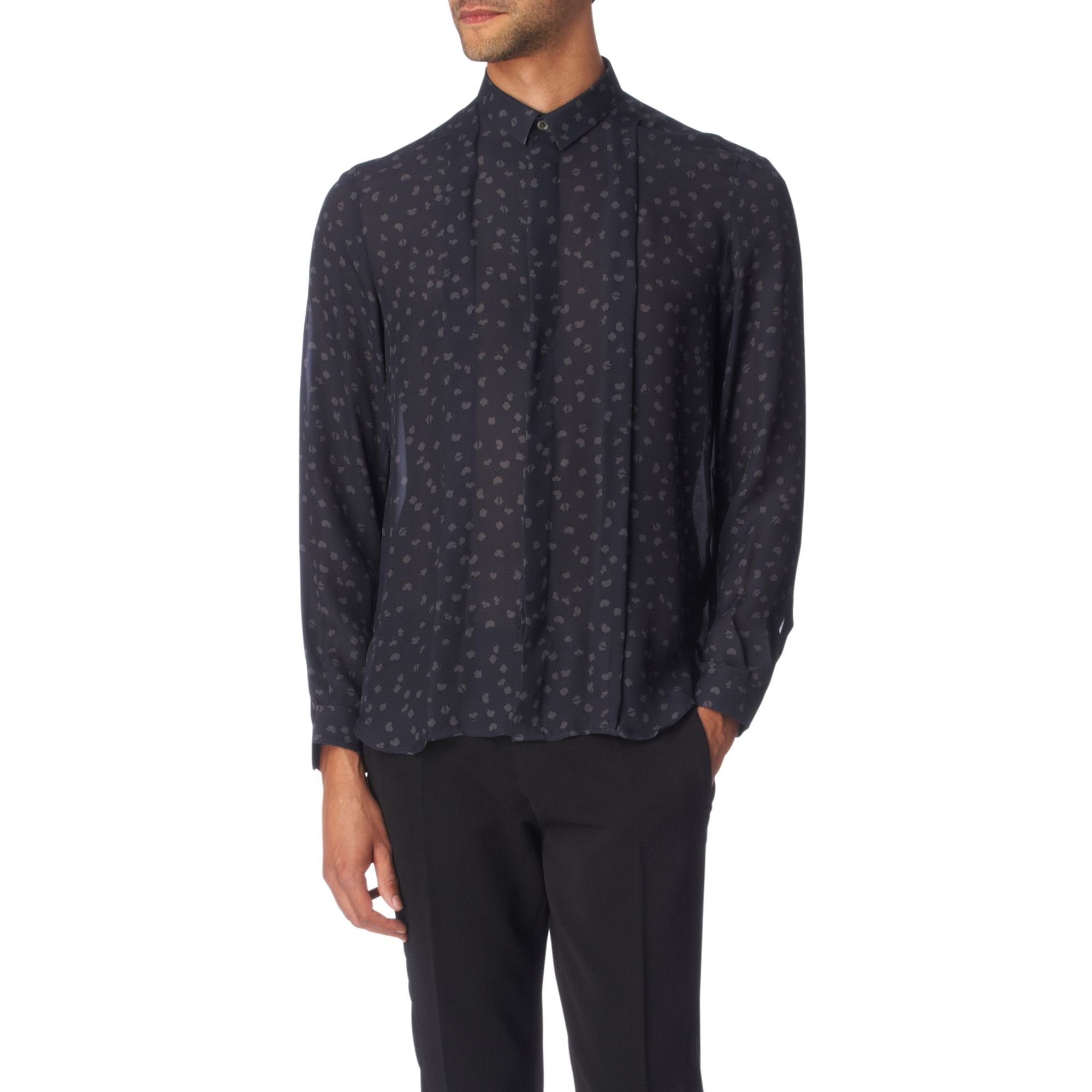 Acne studios sheer relaxed fit single cuff shirt in black for Single cuff dress shirt