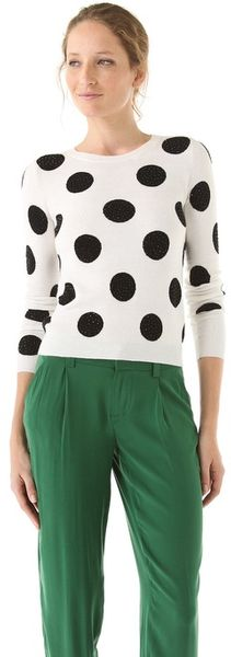 Alice + Olivia Celyn Polka Dot Sweater with Sequins - Lyst