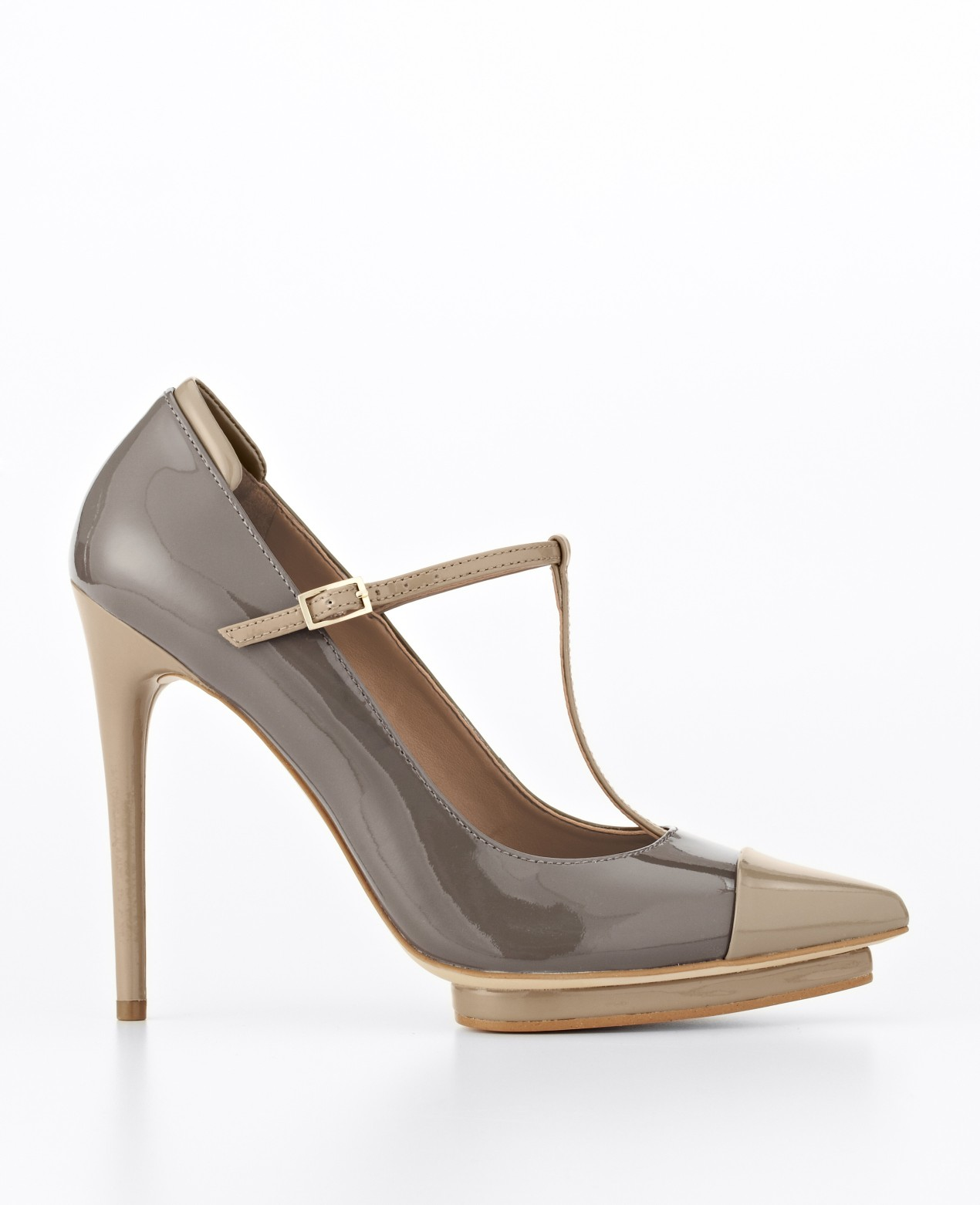 8d7fe5cfe33 Lyst - Ann Taylor Bianca Tstrap Patent Leather Platform Pumps in Gray