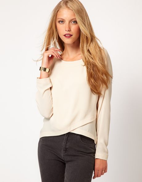 Asos Collection Asos Top with Cross Over Front in Beige (cream) - Lyst