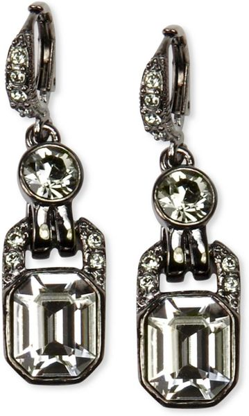 Givenchy Light Hematite Tone Black Diamond Crystal Drop Earrings in Black - Lyst