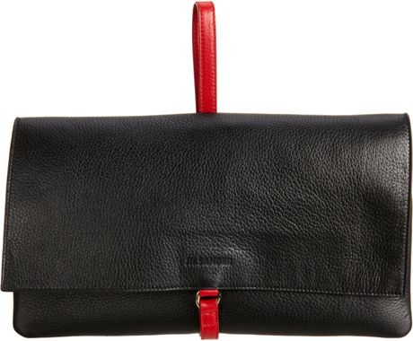 Jil Sander Foldover Clutch in Black (gold) - Lyst