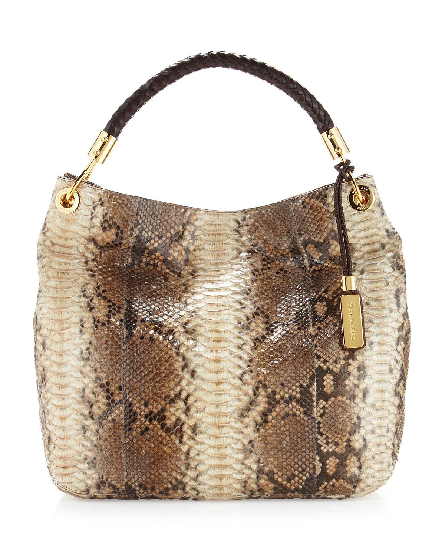 851edf06b60 Michael Kors Skorpios Large Snake-print Shoulder Bag in Brown - Lyst