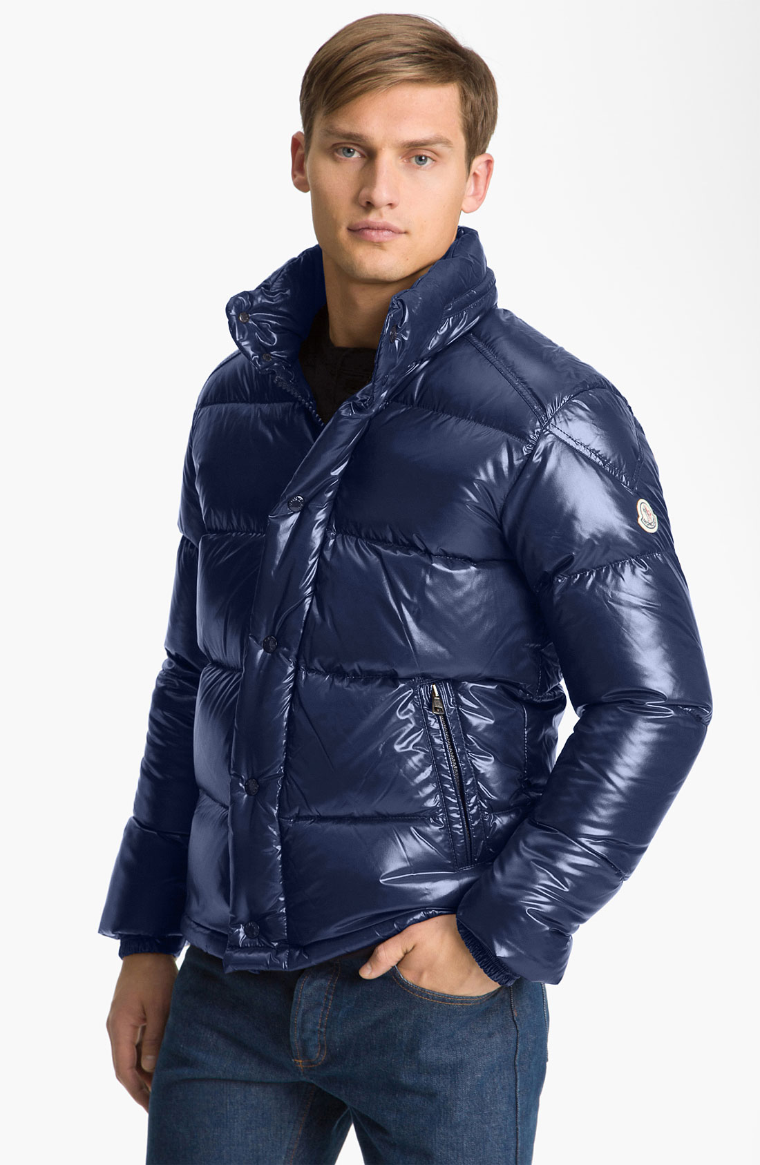 Moncler Ever Quilted Puffer Jacket In Blue For Men Navy