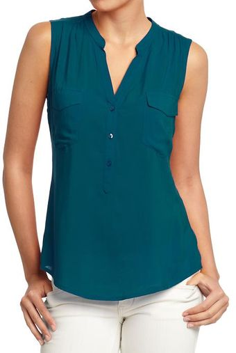 Old Navy Lightweight Buttonfront Sleeveless Tops - Lyst
