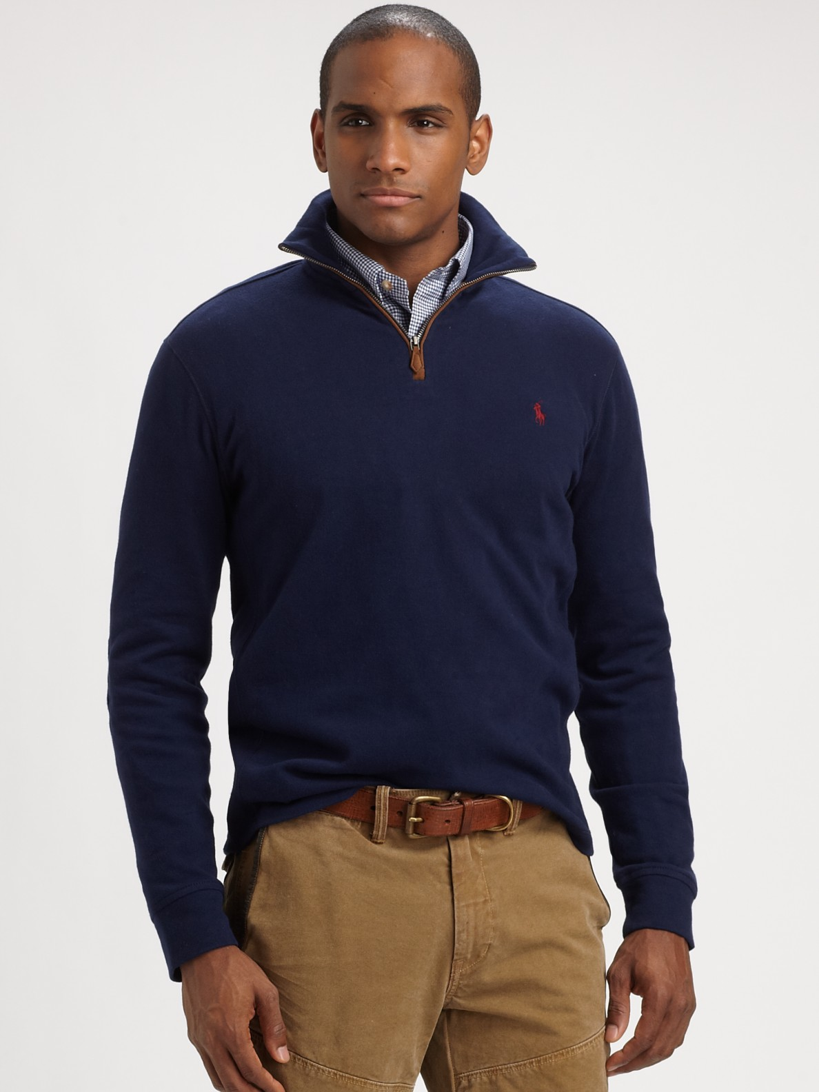 polo ralph lauren sueded jersey halfzip pullover in blue. Black Bedroom Furniture Sets. Home Design Ideas