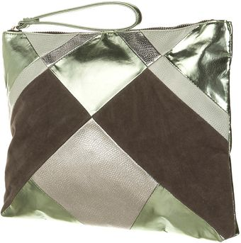 Topshop Metallic Patchwork Clutch - Lyst