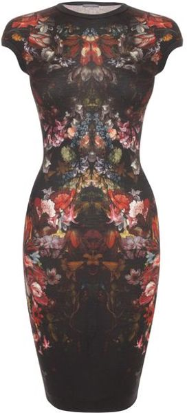Alexander Mcqueen Painted Flowers Cap Sleeve Pencil Dress in Black - Lyst