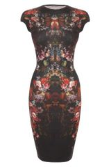 Alexander McQueen Painted Flowers Cap Sleeve Pencil Dress