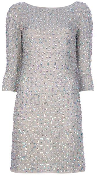 Blumarine Gem Embellished Silk Dress in Gray (nude) - Lyst