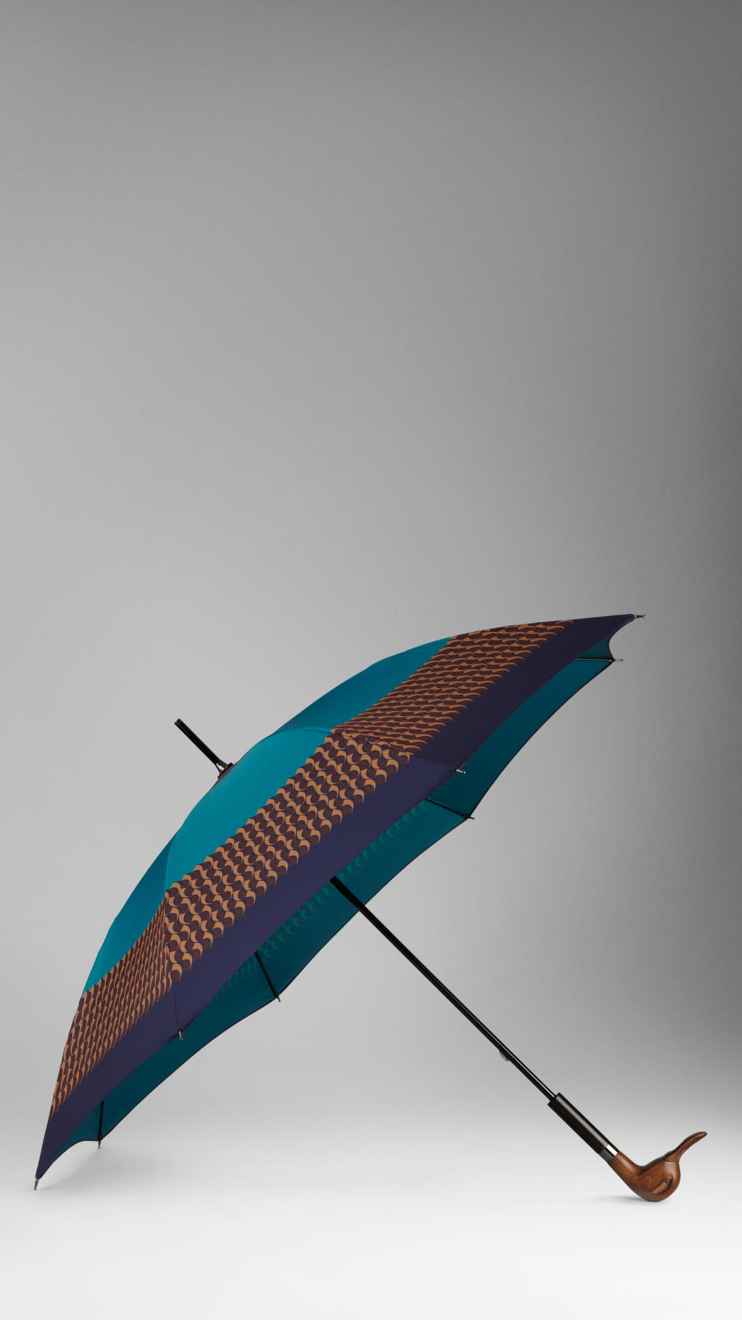 Burberry Duck Handle Striped Walking Umbrella In Blue Lyst
