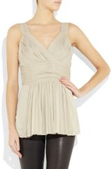Burberry Pleated Stretchsilk Georgette Top in Beige - Lyst