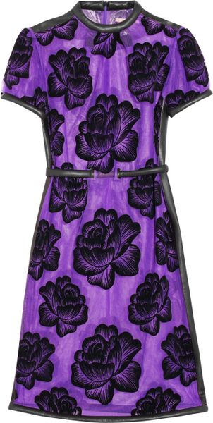 Christopher Kane Leathertrimmed Flocked Tulle Dress in Purple