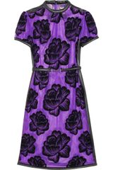 Christopher Kane Leathertrimmed Flocked Tulle Dress in Purple - Lyst