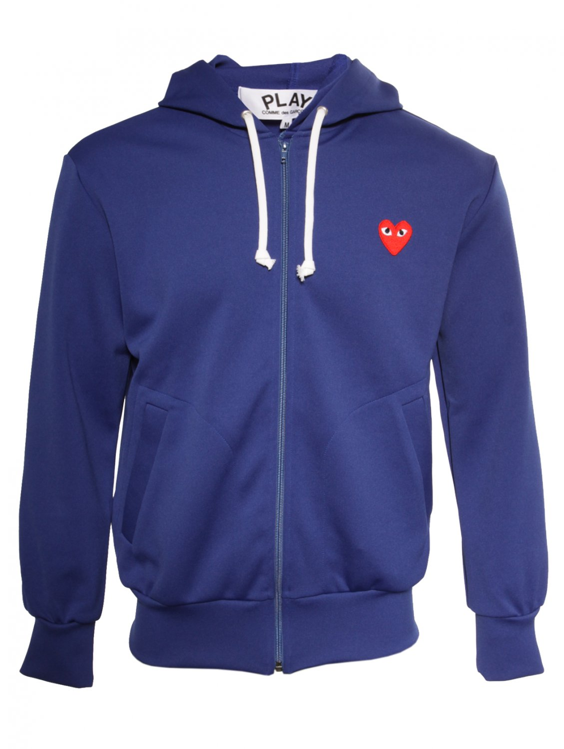 comme des gar ons play mens red heart zip hoodie blue in. Black Bedroom Furniture Sets. Home Design Ideas