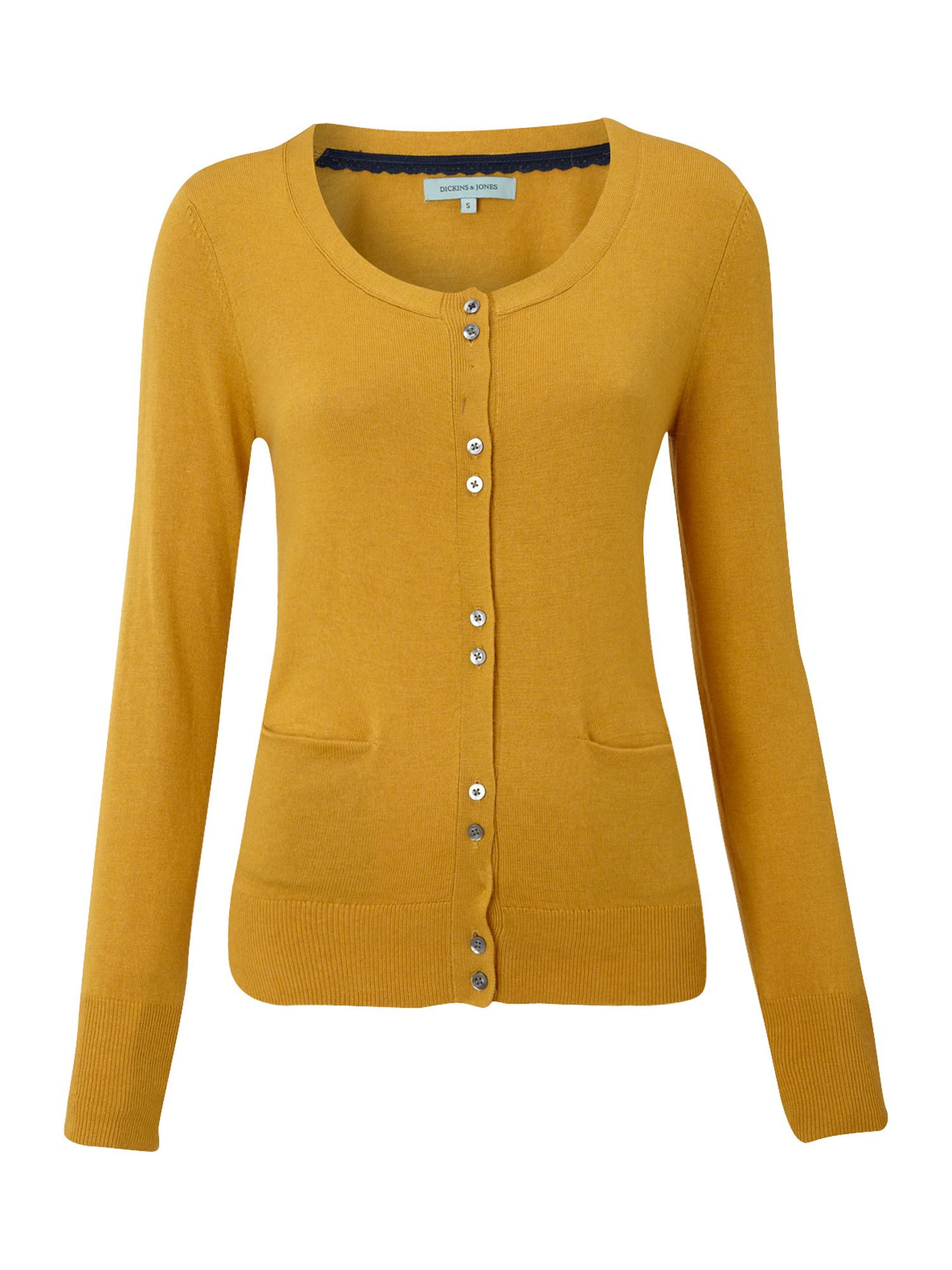 Dickins & jones Ladies Knitted Crew Neck Cardigan in Yellow | Lyst