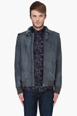 Diesel Grey Leather Lacco Jacket - Lyst