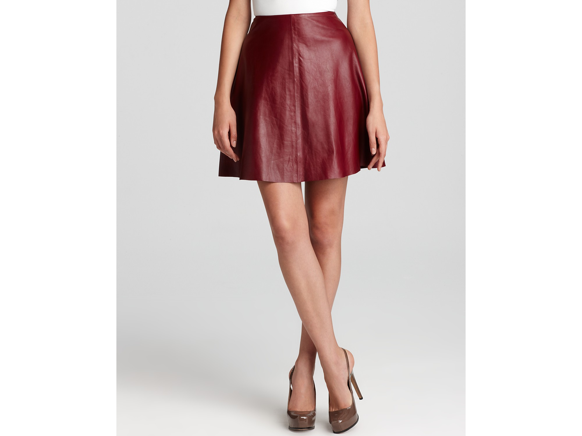 dkny c leather flare skirt in pomegranate lyst