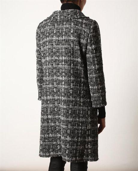 Dolce Amp Gabbana Boucl 233 Tweed Wool Coat In Gray Grey Lyst