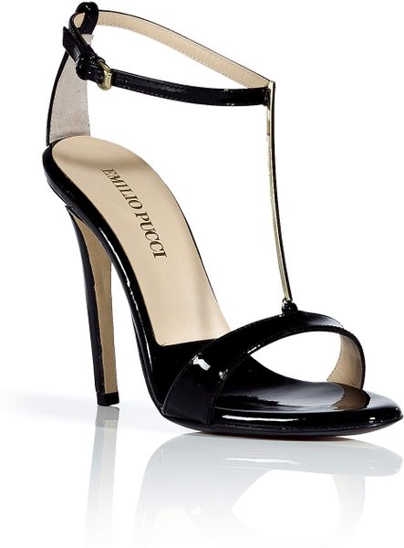Emilio Pucci Black Patent Leather Golden Tstrap Sandals in Black - Lyst