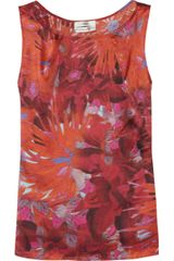 Erdem Fabian Printed Silk Satin Top in Red - Lyst
