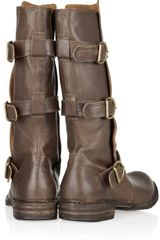 Fiorentini + Baker Eternity Buckled Leather Midcalf Boots in Brown - Lyst