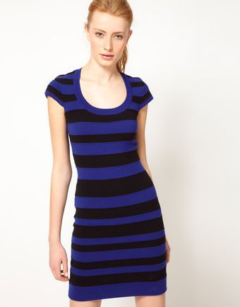 French Connection Stripe Bodycon Dress - Lyst
