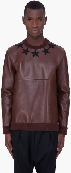 Givenchy  Leather Crewneck Sweater in Brown for Men - Lyst