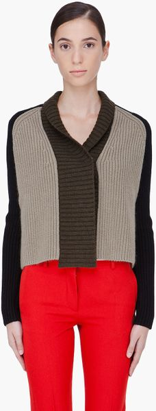 Givenchy Tricolor Cashmere Blend Cardigan in Black (olive) - Lyst