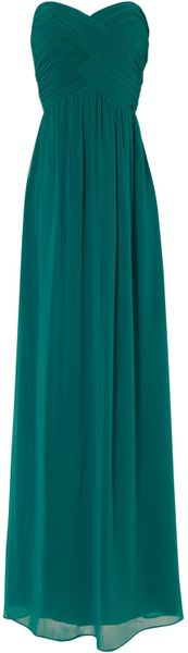 Jane Norman Pleat Bodice Maxi in Green (jade) - Lyst