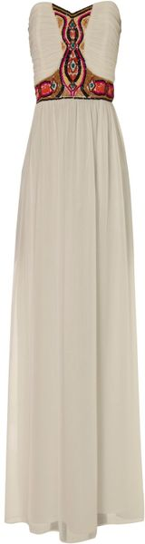 Jane Norman Tribal Bead Maxi Dress in Beige (white)