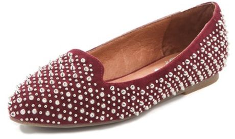 Jeffrey Campbell Martini Suede Studded Loafers in Red (wine) - Lyst