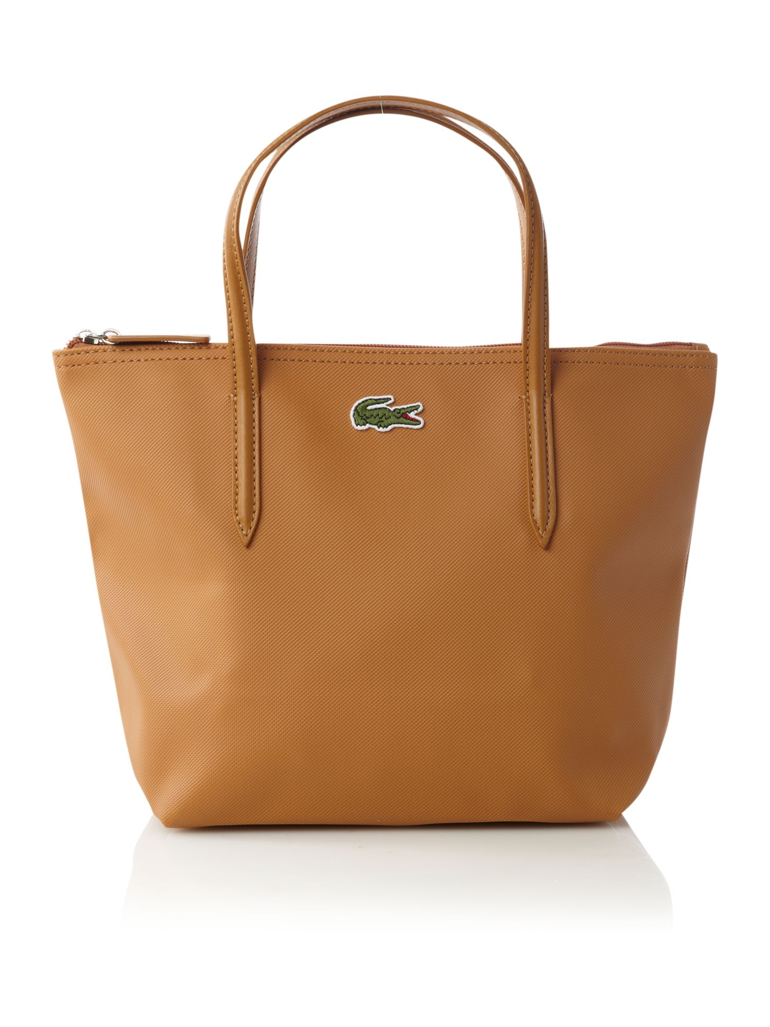 Lacoste Pique Small Tote Bag in Brown | Lyst