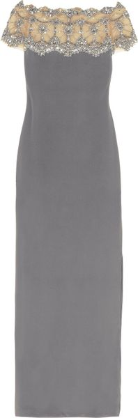 Marchesa Crystal and Beadembellished Silkcrepe Gown in Gray